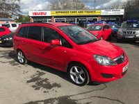 2012 VAUXHALL ZAFIRA 1.6 EXCLUSIV 5d 113 BHP 7 SEATER IN RED WITH 7 SEATS AND ONLY 52000 MILES WITH ONLY 1 OWNER AND A FULL SERVICE HISTORY. £4999.00