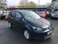 USED 2013 63 VOLKSWAGEN TOURAN 1.6 SE TDI BLUEMOTION TECHNOLOGY DSG 5 DOOR AUTO 106 BHP WITH ONLY 27400 MILES IN METALLIC BLUE WITH A FULL SERVICE HISTORY AND 7 SEATS APPROVED CARS ARE PLEASED TO OFFER THIS  VOLKSWAGEN TOURAN 1.6 SE TDI BLUEMOTION TECHNOLOGY DSG 5 DOOR AUTOMATIC IN METALLIC BLUE WITH A GREAT SPEC INCLUDING SEVEN SEATS AND A FULLY AUTOMATIC GEARBOX WITH A FULL MOTABILITY SERVICE PRINTOUT AND A STAMPED SERVICE BOOK A GREAT MPV IDEAL FOR THE FAMILY DAYS OUT.