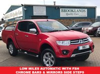 USED 2014 14 MITSUBISHI L200 2.5 DI-D 4X4 WARRIOR LB DCB AUTOMATIC Red 40873 miles FSH 175 BHP LOW MILES AUTOMATIC WITH FSH CHROME BARS & MIRRORS SIDE STEPS