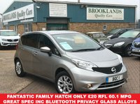 USED 2015 15 NISSAN NOTE 1.2 ACENTA 5 Door Blade Silver Metallic 80 BHP Bluetooth Alloy Wheels  Fantastic Family Hatch Only £20 RFL 60.1 MPG and Great Spec inc Bluetooth Privacy Glass Air Con Alloys
