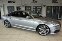 USED 2015 15 AUDI A6 3.0 TDI QUATTRO S LINE BLACK EDITION 4d 268 BHP NEW SHAPE FINISHED IN STUNNING TORNADO GREY WITH FULL BLACK LEATHER SEATS + FULL SERVICE HISTORY + SATELLITE NAVIGATION + SWEEPING INDICATORS + REVERSE CAMERA + 20 INCH ALLOYS + HEADS UP DISPLAY + BOSE SOUND SYSTEM + XENON HEADLIGHTS + HEATED FRONT/REAR SEATS + LED FRONT/REAR DAYTIME LIGHTS + FOUR WHEEL DRIVE + QUAD CLIMATE CONTROL + PARK ASSIST + BLUETOOTH + TINTED REAR GLASS