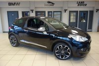 USED 2013 62 CITROEN DS3 1.6 E-HDI AIRDREAM DSPORT PLUS 3d 111 BHP FINISHED IN STUNNING BLACK WITH FULL LEATHER SEATS + FULL SERVICE HISTORY + FREE ROAD TAX + TINTED GLASS + BLUETOOTH + 17 INCH ALLOYS + LED DAYTIME LIGHTS