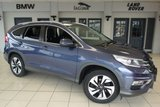 USED 2016 16 HONDA CR-V 1.6 I-DTEC SR 5d 118 BHP FINISHED IN STUNNING BLUE WITH HALF BLACK LEATHER SEATS + FULL HONDA SERVICE HISTORY + SATELLITE NAVIGATION + HID HEADLIGHTS + REVERSE CAMERA + £30 ROAD TAX + HEATED FRONT SEATS + 18 INCH ALLOYS + APP INTERGRATION + BLUETOOTH + PARKING SENSORS + DAB RADIO + CRUISE CONTROL