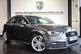 """USED 2016 16 AUDI A3 2.0 TDI S LINE NAV 5DR 182 BHP full service history *NO ADMIN FEES* FINISHED IN STUNNING MONSOON METALLIC GREY WITH HALF BLACK LEATHER INTERIOR + FULL SERVICE HISTORY + SATELLITE NAVIGATION + BLUETOOTH + DAB RADIO + CRUISE CONTROL + SPORT SEATS + HEATED ELECTRIC FOLDING MIRRORS + 18"""" ALLOY WHEELS"""