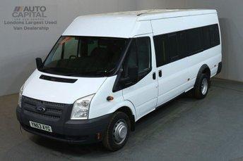 2013 FORD TRANSIT 2.2 430 17 STR 134 BHP TWIN WHEEL EXTRA LWB M/ROOF MINIBUS £6490.00