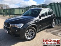 USED 2015 65 BMW X3 2.0 XDRIVE20D SE 5d AUTO 188 BHP SAT NAV LEATHER PDC 4WD. SATELLITE NAVIGATION. STUNNING BLACK MET WITH FULL BLACK LEATHER TRIM. HEATED SEATS. CRUISE CONTROL. 17 INCH ALLOYS. COLOUR CODED TRIMS. PARKING SENSORS. CRUISE CONTROL. ELECTRIC TAILGATE. BLUETOOTH PREP. CLIMATE CONTROL. R/CD PLAYER. MFSW. MOT 10/19. ONE OWNER FROM NEW. SERVICE HISTORY. PRESTIGE SUV CENTRE - LS24 8EJ. TEL 01937 849492 OPTION 1