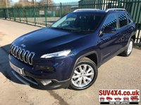 USED 2015 64 JEEP CHEROKEE 2.0 M-JET LIMITED 5d 138 BHP 4WD SAT NAV LEATHER ONE OWNER FSH 4WD. SATELLITE NAVIGATION. STUNNING BLUE MET WITH FULL BLACK LEATHER TRIM. ELECTRIC HEATED AND COOLING MEMORY LEATHER SEATS. CRUISE CONTROL. 18 INCH CHROME ALLOYS. COLOUR CODED TRIMS. PRIVACY GLASS. PARKING SENSORS. REVERSING CAMERA. BLUETOOTH PREP. ELECTRIC TAILGATE. CLIMATE CONTROL INCLUDING AIR CON. TRIP COMPUTER. MEDIA CONNECTIVITY. 6 SPEED MANUAL. MFSW. ROOF BAR READY. MOT 03/20. ONE OWNER FROM NEW. FULL SERVICE HISTORY. SUV & 4X4 CAR CENTRE LS23 7FR. TEL 01937 849492. OPTION 2