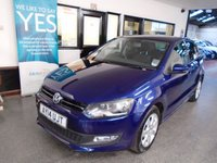 USED 2014 14 VOLKSWAGEN POLO 1.2 MATCH EDITION 5d 59 BHP One gentleman owner, full service history- 4 @ VW & 1 independent, March 2020 Mot. Finished in Metallic Shadow Blue with Black cloth seats.