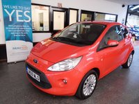USED 2009 59 FORD KA 1.2 ZETEC 3d 69 BHP Three owners, service history, December 2019 Mot. Finished in Sunset Red with Air Con, Alloys and Bluetooth