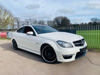 USED 2014 14 MERCEDES-BENZ C-CLASS 6.2 C63 AMG 2d AUTO 457 BHP Pan Roof! Full MB History! Pearl White! Red Leather! Sat Nav!
