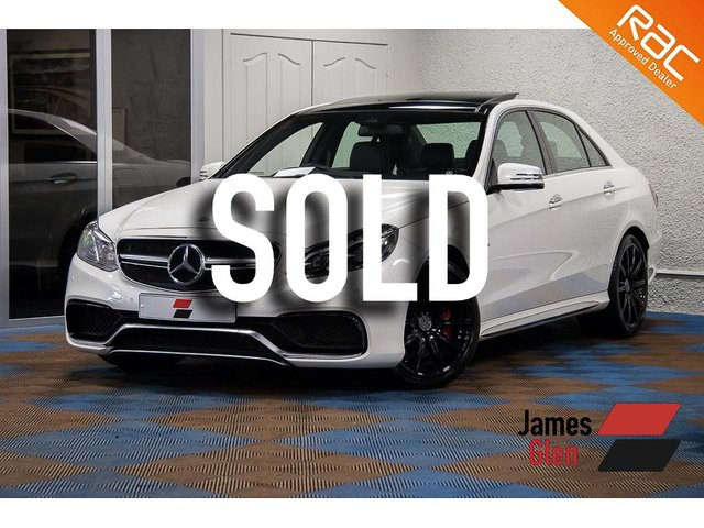 USED 2015 15 MERCEDES-BENZ E CLASS 5.5 E63 AMG S 4d AUTO 577 BHP Full Mercedes Benz Service History   Pearlescent White Paintwork