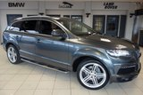 USED 2013 62 AUDI Q7 3.0 TDI QUATTRO S LINE PLUS 5d AUTO 245 BHP FINISHED IN STUNNING GREY WITH FULL BLACK LEATHER SEATS + FULL SERVICE HISTORY + SATELLITE NAVIGATION + XENON HEADLIGHTS + 7 SEATER + 20 INCH ALLOYS  HEATED FRONT SEATS + BLUETOOTH + DAB RADIO + CRUISE CONTROL + PARKING SENSORS