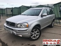 USED 2013 13 VOLVO XC90 2.4 D5 SE LUX AWD 5d AUTO 200 BHP 7 SEATER SAT NAV LEATHER FSH 4WD. 7 SEATER. SATELLITE NAVIGATION. STUNNING SILVER MET WITH FULL BLACK LEATHER TRIM. ELECTRIC HEATED MEMORY SEATS. CRUISE CONTROL. 18 INCH ALLOYS. COLOUR CODED TRIMS. PARKING SENSORS. BLUETOOTH PREP. CLIMATE CONTROL. R/CD PLAYER. MFSW. ROOF BARS. MOT 03/20. ONE PREV OWNER. FULL SERVICE HISTORY. SUV & 4X4 CAR CENTRE LS23 7FR. TEL 01937 849492 OPTION 2