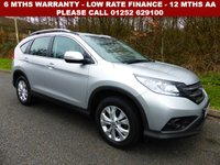 USED 2014 64 HONDA CR-V 2.2 I-DTEC SE 5d 148 BHP All retail cars sold are fully prepared and include - Oil & filter service, 6 months warranty, minimum 6 months Mot, 12 months AA breakdown cover, HPI vehicle check assuring you that your new vehicle will have no registered accident claims reported, or any outstanding finance, Government VOSA Mot mileage check. Because we are an AA approved dealer, all our vehicles come with free AA breakdown cover and a free AA history check.. Low rate finance available. Up to 3 years warranty available.