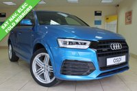 USED 2016 16 AUDI Q3 2.0 TDI QUATTRO S LINE PLUS 5d AUTO 182 BHP HALF ALCANTARA LEATHER, SD CARD SATELLITE NAVIGATION, VOICE ACTIVATION, PADDLE SHIFT, MULTI MEDIA, CRUISE CONTROL, ELECTRIC FOLDING MIRRORS, 19 INCH ALLOY WHEELS CLIMATE CONTROL, LOW MILEAGE