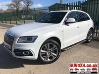 USED 2014 64 AUDI Q5 2.0 TDI QUATTRO S LINE PLUS S/S 5d 175 BHP PAN ROOF SAT NAV LEATHER SIDE STEPS PRIVACY  4WD. PANORAMIC SUNROOF. SATELLITE NAVIGATION. STOP/START. STUNNING WHITE WITH FULL BLACK LEATHER S LINE TRIM. HEATED SEATS. CRUISE CONTROL. SIDE STEPS. 20 INCH ALLOYS. COLOUR CODED TRIMS. PRIVACY GLASS. PARKING SENSORS. ELECTRIC TAILGATE. BLUETOOTH PREP. MULTI MEDIA SCREEN. CLIMATE CONTROL. 6 SPEED MANUAL. TRIP COMPUTER. R/CD/MP3 PLAYER. MFSW. MOT 01/20. ONE PREV OWNER. SERVICE HISTORY. PRESTIGE SUV CENTRE - LS24 8EJ. TEL 01937 849492 OPTION 1