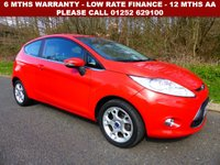 USED 2012 12 FORD FIESTA 1.2 ZETEC 3d 81 BHP All retail cars sold are fully prepared and include - Oil & filter service, 6 months warranty, minimum 6 months Mot, 12 months AA breakdown cover, HPI vehicle check assuring you that your new vehicle will have no registered accident claims reported, or any outstanding finance, Government VOSA Mot mileage check. Because we are an AA approved dealer, all our vehicles come with free AA breakdown cover and a free AA history check.. Low rate finance available. Up to 3 years warranty available.