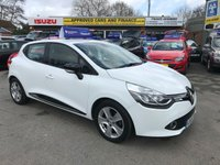 USED 2015 65 RENAULT CLIO 0.9 DYNAMIQUE NAV TCE 5 DOOR 89 BHP IN WHITE WITH 38000 MILES. APPROVED CARS AND FINANCE ARE PLEASE TO OFFER THE RENAULT CLIO 0.9 DYNAMIQUE NAV TCE 5 DOOR 89 BHP IN SUPERB CONDITION INSIDE AND OUT WITH A GREAT SPEC INCLUDING  SAT NAV, ABS,POWER STEERING,ELECTRIC WINDOWS,ALLOY WHEELS,BLUETOOTH AND REAR PARKING SENSORS,THE CAR IS A ONE LADY OWNER FROM NEW AND COMES WITH 2 KEYS AND MUCH, MUCH MORE WITH A FULL SERVICE HISTORY WITH 4 STAMPS IN THE SERVICE BOOK.PLEASE CALL 01622-871-555 TO ARRANGE YOUR VIEWING TODAY.