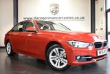 """USED 2015 15 BMW 3 SERIES 2.0 320I SPORT 4DR AUTO 181 BHP full bmw service history *NO ADMIN FEES* FINISHED IN STUNNING MELBOURNE METALLIC RED WITH FULL LEATHER INTERIOR + FULL BMW SERVICE HISTORY + SATELLITE NAVIGATION + BLUETOOTH + DAB RADIO + LIGHT PACKAGE + SPORT LINE + AUTO AIR CON + RAIN SENSORS + PARKING SENSORS + 17"""" ALLOY WHEELS"""