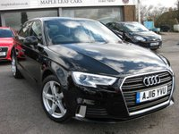 USED 2016 16 AUDI A3 1.6 TDI SPORT 5d 109 BHP Navigation Cruise control Blueooth. DAB Radio. Multi media package. Black. Multi function sports steering wheel.