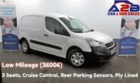 2015 PEUGEOT PARTNER 1.6 HDI 850, 3 Seats, Low Mileage (36006) Cruise Control, Rear Parking Sensors, Ply Lined, AUX £6780.00