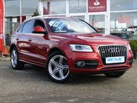 USED 2015 65 AUDI Q5 2.0 TDI QUATTRO S LINE PLUS 5d 187 BHP STUNNING, 1 OWNER, AUDI Q5 2.0 TDI QUATTRO S/LINE PLUS, 190 BHP. Finished in VOLCANO RED with contrasting Full Heated Ebony Leather trim. This handsome looking SUV is a great all rounder. It's one the most popular in the 4x4 class. Features include, Full Leather, Sat Nav, DAB, Cruise, B/Tooth Electric Seats and Blistering Performance. This is a great all rounder with great performance and chunky bodyshape gives it that cocky appearance.