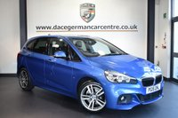 """USED 2015 15 BMW 2 SERIES ACTIVE TOURER 2.0 220I M SPORT ACTIVE TOURER 5DR 189 BHP full bmw service history *NO ADMIN FEES* FINISHED IN STUNNING ESTORIL METALLIC BLUE WITH FULL DAKOTA LEATHER INTERIOR + FULL BMW SERVICE HISTORY + PRO SATELLITE NAVIGATION + BLUETOOTH + DAB RADIO + LIGHT PACKAGE + AUTOMATIC BOOT + AUTO AIR CON + SPORT SEATS + ELECTRIC FOLDING MIRRORS + RAIN SENSORS + PARKING SENSORS + 18"""" ALLOY WHEELS"""