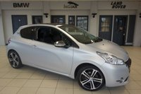 """USED 2013 62 PEUGEOT 208 1.6 ICE VELVET 3d 120 BHP FINISHED IN STUNNING MATTE ICE BLUE WITH HALF BLACK LEATHER SEATS + COMPREHENSIVELY SERVICED + SATELLITE NAVIGATION + PANORAMIC ROOF + 17"""" DIAMOND CUT ALLOYS + BLUETOOTH + AIR CONDITIONING"""