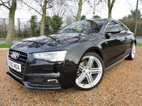 USED 2012 12 AUDI A5 2.0 TDI S line Multitronic 2dr HEATED SEATS/ PARKING SENSORS/ S LINE LEATHER SEATS/ MEDIA SCREEN/ FULL SERVICE HISTORY (5 Services) new SERVICE 01/19 @42k. mileage Timing Belt, Water pump, Aux Belt replaced @34'869 mileage 01/2018, 1 year MOT, ROAD TAX £10,50/pm or £120,-/annual, WARRANTY, HPI, 2 KEYS MANUALS