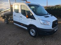 USED 2016 16 FORD TRANSIT 2.2 350 D/C 124 BHP TIPPER 29000 MILES ONE OWNER FROM NEW