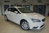 USED 2015 64 SEAT LEON 2.0 TDI SE TECHNOLOGY 5d 150 BHP full seat service history FINISHED IN STUNNING WHITE WITH ANTHRACITE CLOTH SEATS + FULL SEAT SERVICE HISTORY + SATELLITE NAVIGATION + LED HEADLIGHTS + £20 ROAD TAX + BLUETOOTH + 16 INCH ALLOYS + LED DAYTIME LIGHTS + AIR CONDITIONING