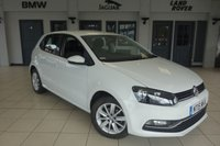 USED 2015 15 VOLKSWAGEN POLO 1.2 SE TSI 5d 89 BHP FINISHED IN STUNNING WHITE WITH ANTHRACITE CLOTH SEATS + EXCELLENT VW SERVICE HISTORY + £20 ROAD TAX + 1 OWNER + TOUCH SCREEN + BLUETOOTH + 16 INCH ALLOYS + DAB RADIO + AIR CONDITIONING