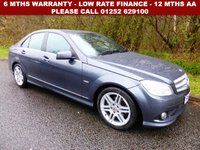 USED 2010 60 MERCEDES-BENZ C-CLASS C220 CDI BlueEFFICIENCY Sport 4dr Auto All retail cars sold are fully prepared and include - Oil & filter service, 6 months warranty, minimum 6 months Mot, 12 months AA breakdown cover, HPI vehicle check assuring you that your new vehicle will have no registered accident claims reported, or any outstanding finance, Government VOSA Mot mileage check. Because we are an AA approved dealer, all our vehicles come with free AA breakdown cover and a free AA history check.. Low rate finance available. Up to 3 years warranty available.