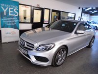 USED 2015 64 MERCEDES-BENZ C-CLASS 2.1 C220 BLUETEC AMG LINE 4d AUTO 170 BHP Fitted with a new front screen, This new shape £30 per year tax one company owner C220 Bluetec AMG Line is finished in Metallic Silver with Black leather heated leather seats. It is fitted with remote locking, electric windows, mirrors with power fold and part drivers seat, climate control, distronic cruise control, front and rear parking sensors, reverse camera with guidance lines and active parking assist, LED day lights, auto xenon lights, Mercedes Sat Nav +