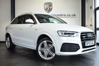 """USED 2016 65 AUDI Q3 2.0 TDI QUATTRO S LINE PLUS 5DR AUTO 182 BHP full audi service history FINSHED IN STUNNING GLACIER WHITE WITH HALF BLACK LEATHER INTERIOR + FULL AUDI SERVICE HISTORY + SATELLITE NAVIGATION + BLUETOOTH + DAB RADIO + CRUISE CONTROL + HEATED ELECTRIC FOLDING MIRRORS + AIR CON + PARKING SENSORS + 19"""" ALLOY WHEELS"""