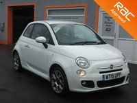 """USED 2015 15 FIAT 500 1.2 S 3d 69 BHP 4 Service Stamps, 16"""" alloys, Bluetooth, Parking Sensors"""