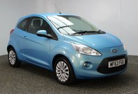 USED 2013 63 FORD KA 1.2 ZETEC 3DR 69 BHP 1 OWNER £30 ROAD TAX £20 12 MONTHS ROAD TAX + LOW MILEAGE + AIR CONDITIONING + RADIO/CD/AUX/MP3 + ELECTRIC WINDOWS + ELECTRIC MIRRORS + 15 INCH ALLOY WHEELS