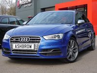 USED 2015 65 AUDI S3 SPORTBACK 2.0 TFSI QUATTRO 5d 300 S/S £1090 OF OPTIONAL EXTRAS, FINISHED IN SEPANG BLUE PEARL EFFECT, FULL SERVICE HISTORY, UPGRADE PRIVACY GLASS, UPGRADE 3D DESIGN INLAYS, UPGRADE BLACK ROOF RAILS, FULL BLACK LEATHER INTERIOR, HEATED FRONT SEATS, 18 INCH ALLOYS, SPORT SEATS, DAB RADIO, BLUETOOTH PHONE & MUSIC STREAMING, AUDI MUSIC INTERFACE (AMI), AUDI DRIVE SELECT, LEATHER FLAT BOTTOM MULTIFUNCTION STEERING WHEEL, LED DAYTIME RUNNING LIGHTS, XENON HEADLIGHTS, QUAD EXHAUST, DUAL CLIMATE AIR CON, ALUMINIUM PEDLAS