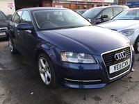 USED 2011 11 AUDI A3 1.6 SPORTBACK MPI TECHNIK 5d 101 BHP A3 5 door, stunning blue, alloys, air/con, stunning example