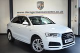 "USED 2017 17 AUDI Q3 2.0 TDI S LINE EDITION 5DR 148 BHP full audi service history *NO ADMIN FEES* FINISHED IN STUNNING GLACIER WHITE WITH HALF BLACK LEATHER INTERIOR + FULL AUDI SERVICE HISTORY + SATELLITE NAVIGATION + BLUETOOTH + DAB RADIO + CRUISE CONTROL + RAIN SENSORS + AIR CON + HEATED ELECTRIC FOLDING MIRRORS + PARKING SENSORS + 18"" ALLOY WHEELS"