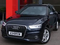 USED 2014 64 AUDI Q3 2.0 TDI S LINE 5d 140 S/S UPGRADE CRUISE CONTROL, UPGRADE AUTO DIMMING REAR VIEW MIRROR, UPGRADE TYRE REPAIR KIT, UPGRADE PARKING SYSTEM PLUS WITH FRONT & REAR PARKING SENSORS, UPGRADE INCREASED BOOT VOLUME, UPGRADE POWER TAILGATE, DAB RADIO, BLUETOOTH PHONE & MUSIC STREAMING, LED XENON LIGHTS, 8 INCH TWIN 5 SPOKE ALLOYS, BLACK ½ LEATHER INTERIOR, AUTO LIGHTS & WIPERS, AUDI MUSIC INTERFACE, DUAL CLIMATE AIR CON, CD HIFI WITH 2x SD CARD READERS, TYRE PRESSURE MONITORING SYSTEM, 1 OWNER FROM NEW, FULL SERVICE HISTORY