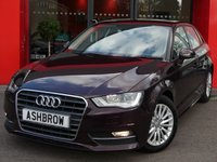 USED 2015 65 AUDI A3 SPORTBACK 1.6 TDI ULTRA SE TECHNIK 5d 110 S/S £0 TAX, 1 OWNER FROM NEW, FULL AUDI SERVICE HISTORY, UPGRADE ELECTRIC LUMBAR SUPPORT, SAT NAV, REAR ACOUSTIC PARKING SENSORS, CRUISE CONTROL, DAB DIGITAL RADIO, BLUETOOTH PHONE & MUSIC STREAMING, AUDI MUSIC INTERFACE FOR IPOD/USB DEVICES (AMI), FRONT FOG LIGHTS, HEADLAMP WASHERS, 16 INCH MULTI SPOKE ALLOYS, LEATHER MULTIFUNCTION STEERING WHEEL, A/C, CD HIFI W/ 2x SD CARD READERS, TYRE PRESSURE MONITORING SYSTEM, ELECTRIC WINDOWS x4, ELECTRIC HEATED DOOR MIRRORS, VAT QUALIFYING.