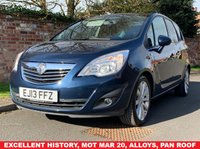 USED 2013 13 VAUXHALL MERIVA 1.7 SE CDTI 5d 128 BHP EXCELLENT SERVICE HISTORY, MOT MAR 20, EXCELLENT CONDITION,  ALLOYS, AIR CON, PAN ROOF, BLUETOOTH, PRIVACY GLASS, E/WINDOWS, R/LOCKING, FREE  WARRANTY, FINANCE AVAILABLE, HPI CLEAR, PART EXCHANGE WELCOME,