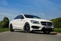 USED 2016 16 MERCEDES-BENZ CLA 2.0 AMG CLA 45 4MATIC 4d AUTO 375 BHP A High Spec Performance Car with Impressive Handling, 375BHP and 0-60 in just 4.6 Seconds. This 2016 All Wheel Drive AMG Model Received a Range of Updates with Dynamic Select, More Power & Revised Gear Ratios making it One of the Best Vehicles in its Class. Loaded with High Spec Features Including: 19 Inch Matt Black Alloy Wheels, High Performance AMG Brakes with Red Brake Callipers, AMG Rear Spoiler Lip, Black Leather / Alcantara AMG Sports Seats with Contrast Red Stitch, AMG Performance...