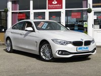 USED 2015 64 BMW 4 SERIES 2.0 420D XDRIVE LUXURY GRAN COUPE 4d AUTO 181 BHP STUNNING, 1 OWNER, BMW 420 XDRIVE, GRAND COUPE, LUXURY AUTO COUPE. Finished in MINERAL WHITE PEARL with contrasting FULL HEATED LEATHER. This a sleek bodied coupe with great handling and great levels of comfort. The mineral white is one of the most desirable colours. Features include Sat Nav, Heated Leather Seats, DAB, Upgraded Alloys, Front and Rear Park Sensors and much more.