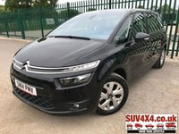 USED 2014 14 CITROEN C4 GRAND PICASSO 1.6 E-HDI AIRDREAM VTR PLUS 5d 113 BHP FSH STUNNING BLACK MET WITH FULL BLACK CLOTH TRIM. CRUISE CONTROL. 16 INCH ALLOYS. COLOUR CODED TRIMS. PARKING SENSORS. AUTO CLIMATE CONTROL. AIR CON. BLUETOOTH PREP. MEDIA CONNECTIVITY. R/CD PLAYER. 5 SPEED MANUAL. MFSW. MOT 03/20. FULL SERVICE HISTORY. SUV & 4X4 CAR CENTRE LS23 7FR. TEL 01937 849492 OPTION 2