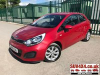 USED 2015 15 KIA RIO 1.2 VR7 3d 84 BHP FSH STUNNING RED MET WITH FULL BLACK CLOTH TRIM. 15 INCH ALLOYS. COLOUR CODED TRIMS. PRIVACY GLASS. PARKING SENSORS. BLUETOOTH PREP. AIR CON. R/CD PLAYER. MFSW. MOT 04/20. SERVICE HISTORY. P/X CLEARANCE CENTRE LS23 7FQ TEL 01937 849492 OPTION 4