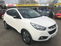USED 2014 HYUNDAI IX35 1.7 CRDI GO SE 5d 114 BHP IN WHITE GREAT CONDITION 53K MILES REVERSE CAMARA .APPROVED CARS AND FINANCE ARE PLEASED TO OFFER OUR HYUNDAI IX35 1.7 CRDI GO SE 5 DOORS 114 BHP IN WHITE WITH A HUGE SPEC INCLUDING ABS,POWER STEERING,CLIMATE CONTROL,ELECTRIC WINDOWS,MANUAL,FULL LEATHER,REVERSE CAMERA,PARKING SENSORS,BLUETOOTH,ELECTRIC SUNROOF AND MUCH MORE ALONG WITH A FULL SERVICE HISTORY WITH 3 SERVICE STAMPS IN THE SERVICE BOOK.PLEASE CALL 01622-871-555 TO BOOK YOUR TEST DRIVE TODAY.