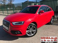 USED 2014 14 AUDI Q3 2.0 TDI S LINE 5d 138 BHP ALLOYS CLIMATE LEATHER BLUETOOTH STUNNING RED WITH PART BLACK LEATHER S-LINE SPORTS TRIM. HEATED SEATS. 19 INCH ALLOYS. COLOUR CODED TRIMS. PARKING SENSORS. BLUETOOTH PREP. CLIMATE CONTROL. TRIP COMPUTER. R/CD/MP3 PLAYER. 6 SPEED MANUAL. MFSW. MOT 03/20. ONE PREV OWNER. SERVICE HISTORY. PRESTIGE SUV CENTRE - LS24 8EJ. TEL 01937 849492. OPTION 1