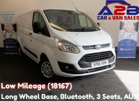 2016 FORD TRANSIT CUSTOM 2.2 290 TREND 125 BHP, Low Mileage (18167) Long Wheel Base, 3 Seats, Bluetooth, Front and Rear Parking Sensors £11680.00